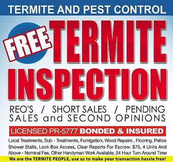Bell Termite offers FREE Termite Inspection and Free Pest Inspection in Southern California